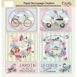 Papel decoupage Artis Etiquetas & Flores