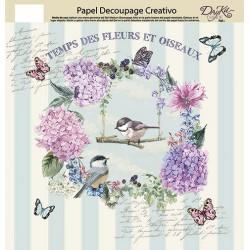 Papel decoupage Artis Pájaros & Flores